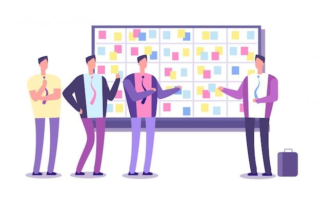 Tablica planowania scrum. pracownicy planujący pracę przy tablicy zadań. krzywa procesów biznesowych i spotkania