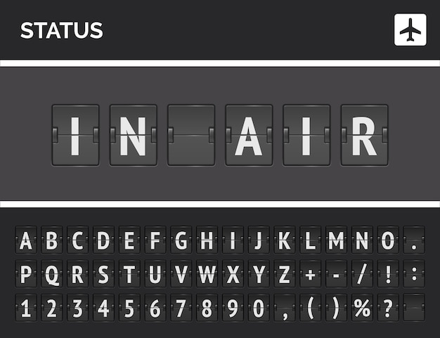 Tablica statusu lotu informuje, że samolot jest w powietrzu. koncepcja analogowej tablicy wyników wektor lotnisko z odwróć czcionkę 3d