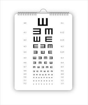 Tablica testowa do weryfikacji testów obrazu wektorowego pacjenta na białym tle