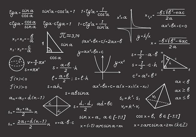 Tablica w wzorach matematycznych i ilustracjach obliczeń. obliczenia algebraiczne z kredowymi rysunkami geometrycznymi podstawowe równania i twierdzenia szkolne i uniwersyteckie. edukacja wektor.