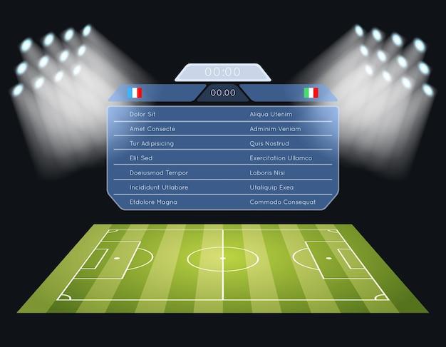 Tablica wyników boiska do piłki nożnej. reflektor i oświetlenie, sportowa piłka nożna, stadion i zawody mistrzostw.