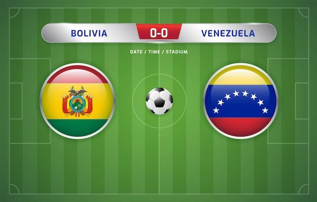 Tablica wyników boliwia vs wenezuela transmituje turniej piłki nożnej w ameryce południowej 2019, grupa a
