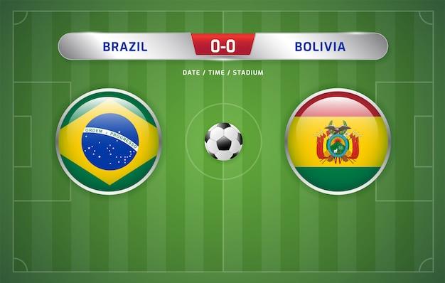 Tablica wyników brazylia vs boliwia transmituje turniej piłki nożnej w ameryce południowej 2019, grupa a