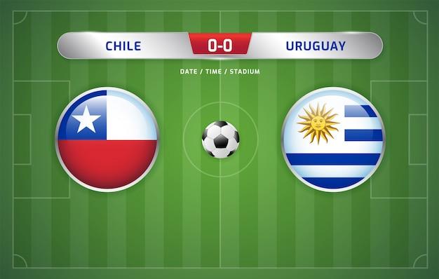 Tablica wyników chile vs urugwaj transmituje turniej piłki nożnej w ameryce południowej 2019, grupa c