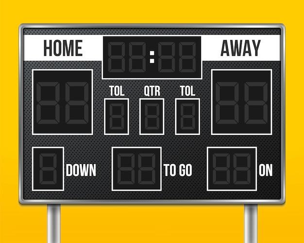 Tablica wyników futbolu amerykańskiego, wynik gry sportowej.