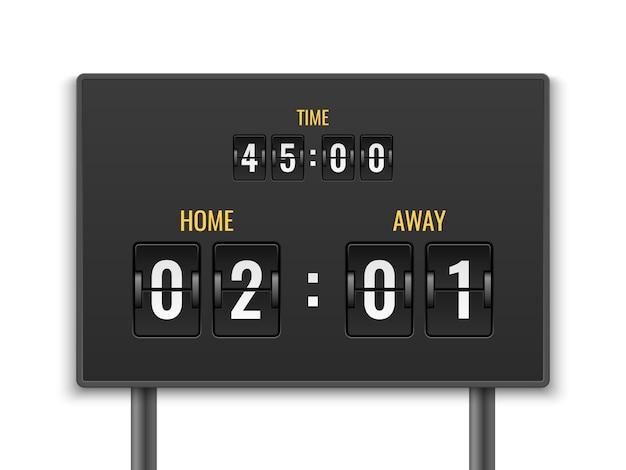 Tablica wyników. licznik liczb licznik czas w dół data panel mechaniczny odliczanie stadion mecz cel piłka nożna sport remis