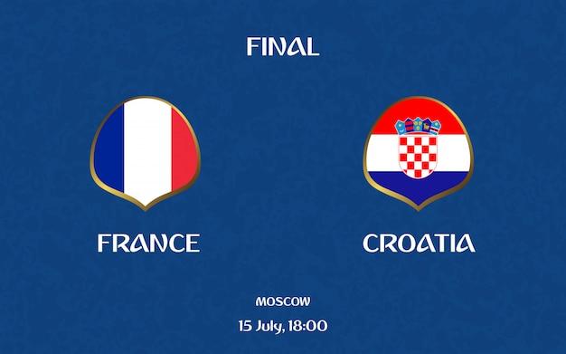 Tablica wyników piłki nożnej francja vs chorwacja transmituje graficzny szablon piłki nożnej
