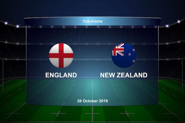 Tablica wyników pucharu rugby transmituje grafikę