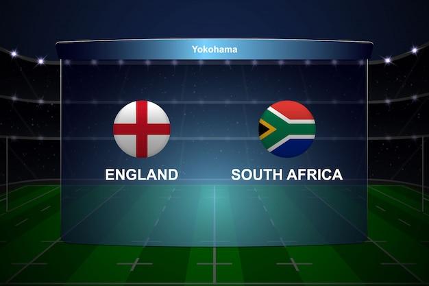 Tablica wyników pucharu rugby transmituje szablon graficzny