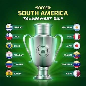 Tablica wyników transmisji turnieju piłki nożnej w ameryce południowej w 2019 roku