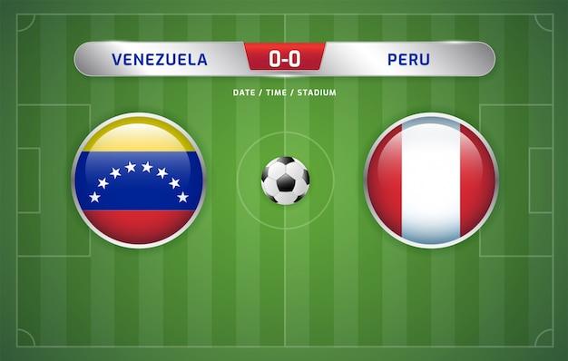 Tablica wyników wenezueli vs peru transmituje turniej piłki nożnej w ameryce południowej 2019, grupa a