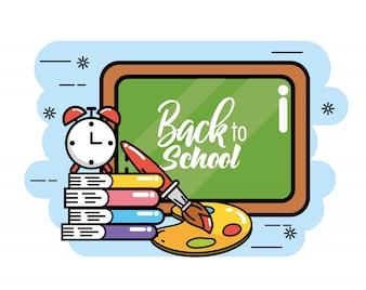 Tablica z książkami i budzikiem, aby wrócić do szkoły