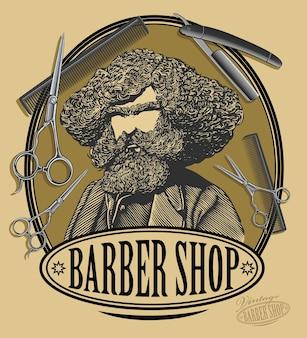 Tablica z napisem vintage barber shop z brodatym mężczyzną, nożyczkami, brzytwą i grzebieniem w grawerowanym stylu