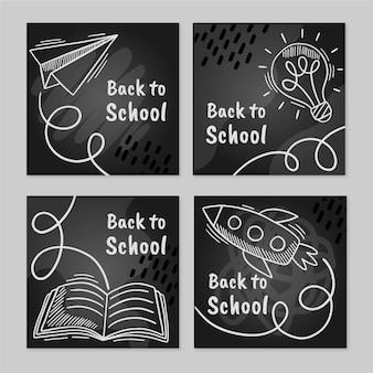 Tablica z powrotem do szkolnych postów na instagramie
