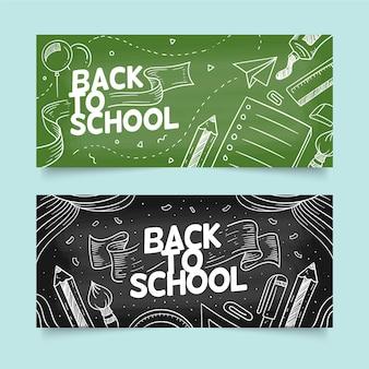 Tablica z powrotem do szkoły poziome bannery