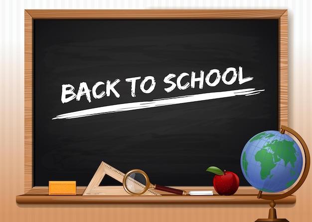 Tablica z przyborami szkolnymi. napis kredą na tablicy szkolnej - powrót do szkoły. projekt koncepcyjny na dzień wiedzy. ilustracja wektorowa