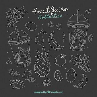 Tablica z różnych owoców i soków
