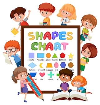 Tablica z wykresami kształtów z wieloma dziećmi wykonującymi różne czynności
