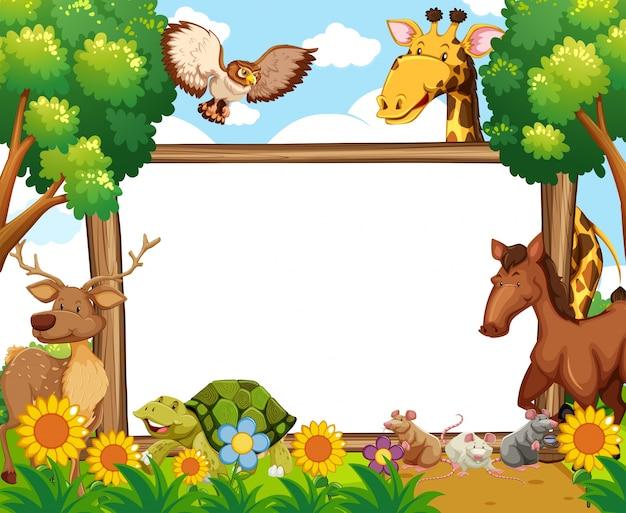 Tablica ze zwierzętami w lesie