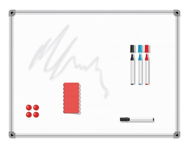 Tablica znaczników. biała tablica z kolorowymi markerami i gumką. ilustracji wektorowych.