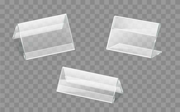 Tabliczki znamionowe plastikowe lub akrylowe uchwyty wektor zestaw