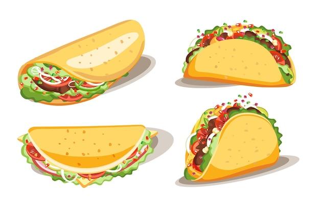 Taco i burrito, fast food z sosem, meksykańskie tradycyjne potrawy, ilustracja na białym tle