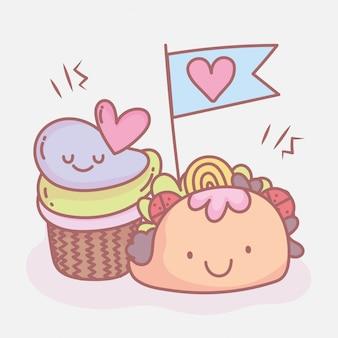 Taco i słodkie babeczki menu restauracji jedzenie słodkie