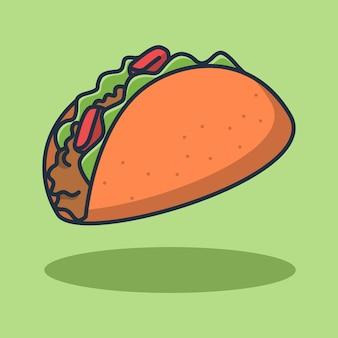 Taco jedzenie ilustracja projekt z pysznym mięsem mielonym. projekt na białym tle żywności.