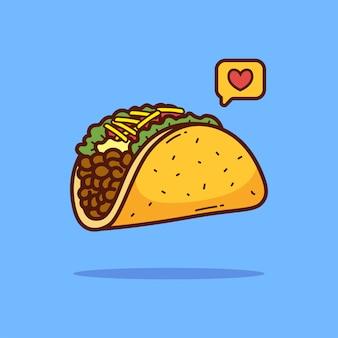 Taco kreskówka doodle ilustracja