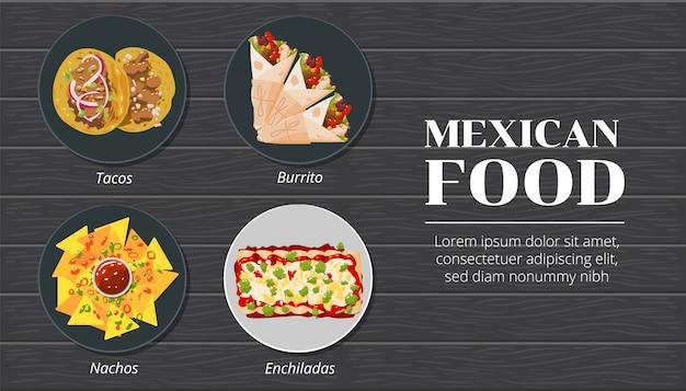 Tacos, nachos, burrito, enchiladas meksykańskie jedzenie wektor zestaw kolekcji grafiki