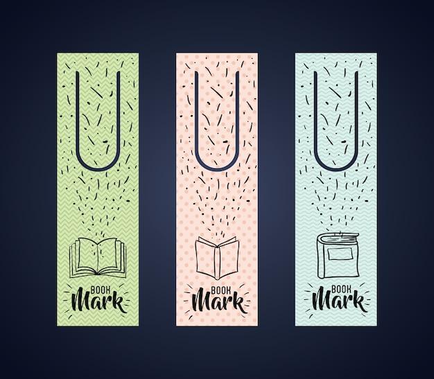 Tag etykiety zakładki z ikoną książki. czytanie dekoracji przewodnika i motyw literatury. kolorowe desi