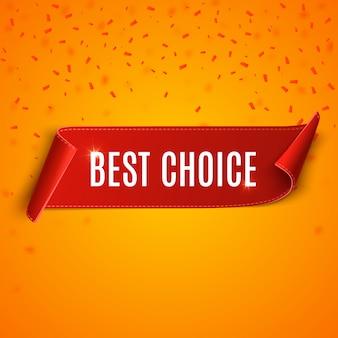 Tag najlepszego wyboru. wektor czerwoną wstążką na białym tle