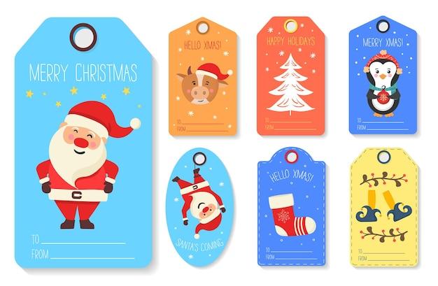 Tagi prezentów świątecznych z kartami z postaciami zwierząt zimowych wesołych świąt szczęśliwego nowego roku etykieta