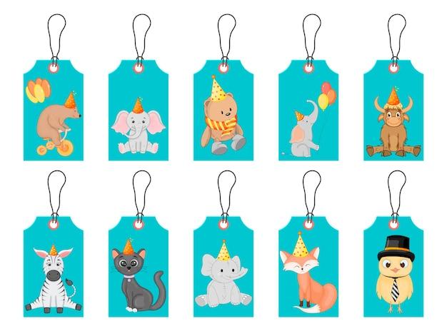 Tagi urodzinowe na świąteczne przedmioty z uroczymi zwierzętami. styl kreskówki. wektor.