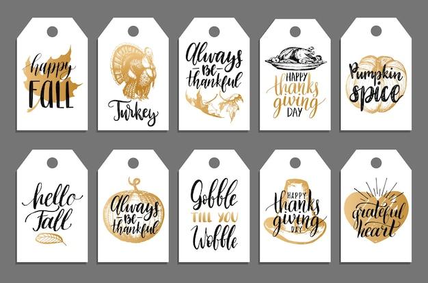 Tagi z napisem i ilustracjami na święto dziękczynienia. etykiety rysowane i odręcznie.