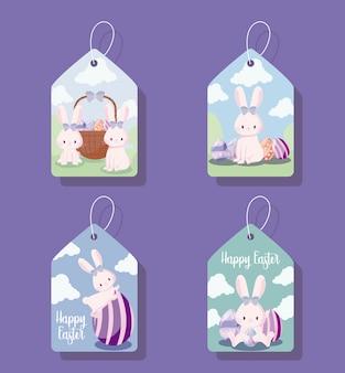 Tagi z uroczymi królikami kobiet wielkanocnych