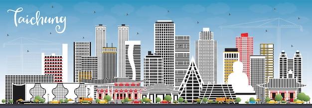 Taichung taiwan city skyline z szarymi budynkami i błękitnym niebem. ilustracja
