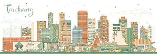 Taichung tajwan panoramę miasta z kolorowymi budynkami. ilustracja