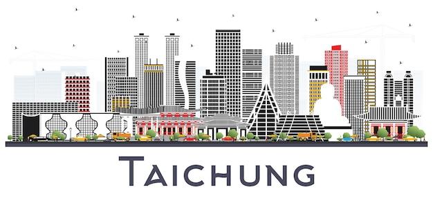 Taichung tajwan panoramę miasta z szarymi budynkami na białym tle. ilustracja