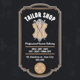 Tailor shop rocznika emblemat lub wektor signage