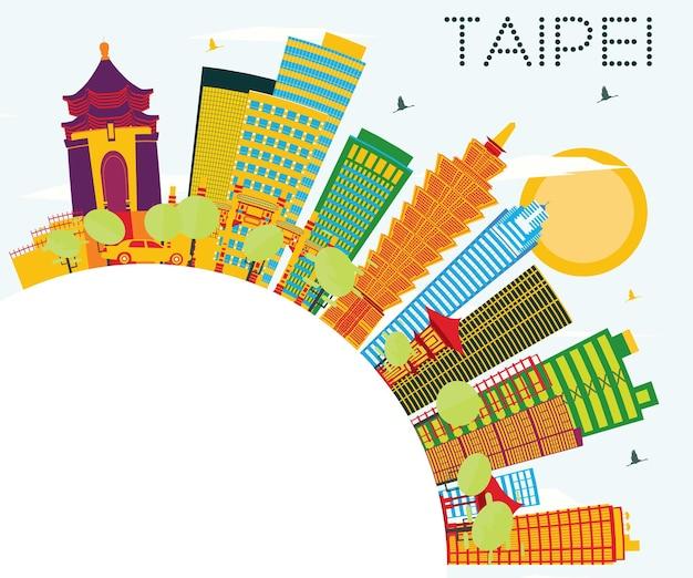 Taipei skyline z kolorowymi budynkami, błękitnym niebem i przestrzenią do kopiowania. ilustracja wektorowa. koncepcja podróży służbowych i turystyki. obraz banera prezentacji i witryny sieci web.