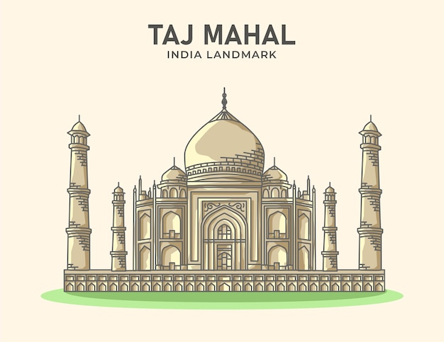Taj mahal indie landmark minimalistyczna ilustracja