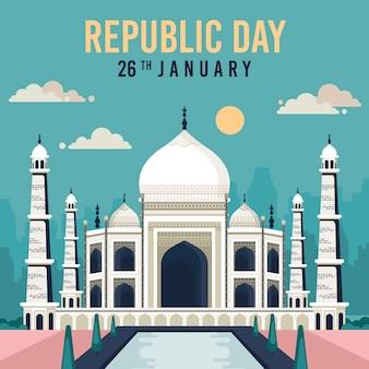 Taj mahal widok z przodu 26 stycznia święto narodowe