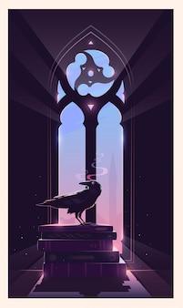 Tajemnicza ilustracja. kruk siedzi na książkach. gotyckie okno. stróż tajemnic.