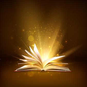 Tajemnicza otwarta książka z błyszczącymi stronami. książka fantasy z magicznym światłem iskrzy się i gwiazdami. ilustracja