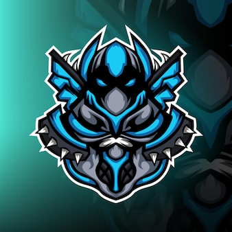 Tajemnicze niebieskie logo esportowej maskotki ninja