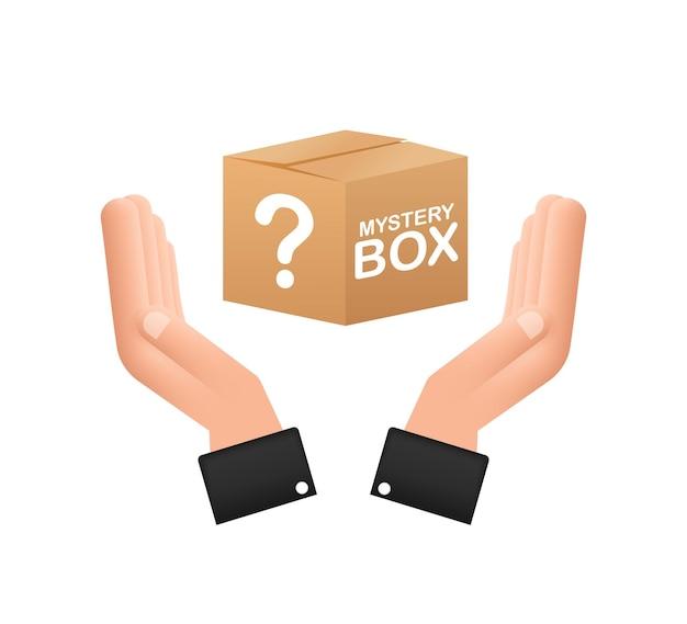 Tajemnicze pudełko z rękami opakowanie do projektu koncepcyjnego prezent niespodzianka projekt opakowania symbol pomocy
