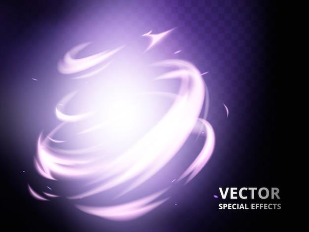 Tajemniczy element twister, który może być użyty jako efekt specjalny, fioletowe tło