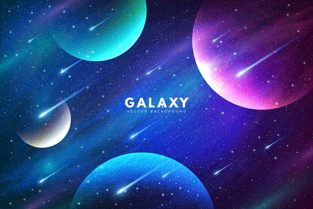 Tajemniczy galaktyki tło z kolorowymi planetami
