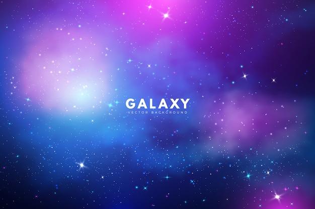 Tajemniczy galaktyki tło z purpurowymi dźwiękami